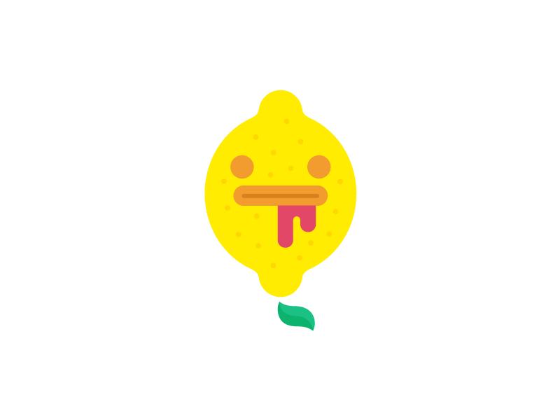 LeMonster  character lemon yellow raspberry citrus face logo blood leaf lemonade pink monster