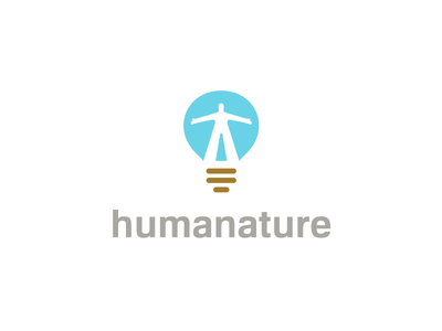 Humanature solution marketing humanity land icon logo brown blue light bulb idea sky human