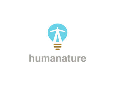 Humanature solution marketing humanity land icon logo brown blue light bulb idea sky human