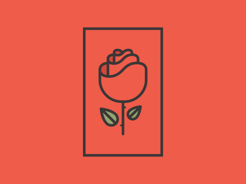 Simple Rose leaf nature design line vector icon simple illustration logo rose flower red