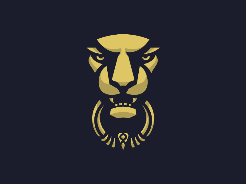 Lion Door Knocker black simple illustration door gold lion icon logo metal animal shadow face