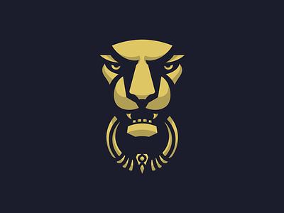 Lion Door Knocker black simple illustration door gold lion icon logo metal animal shadow face