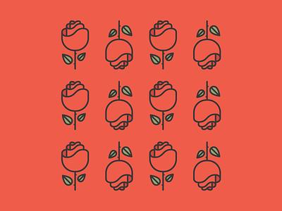 One Dozen Roses vector design rose line simple icon logo nature flower leaf red illustration