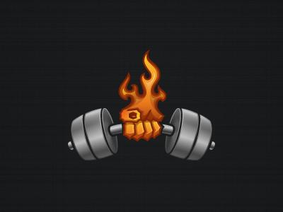 JCD Fitness Logo Orange Version logo icon app fitness flame dumbbell hand blue cursive cool beautiful design illustration identity