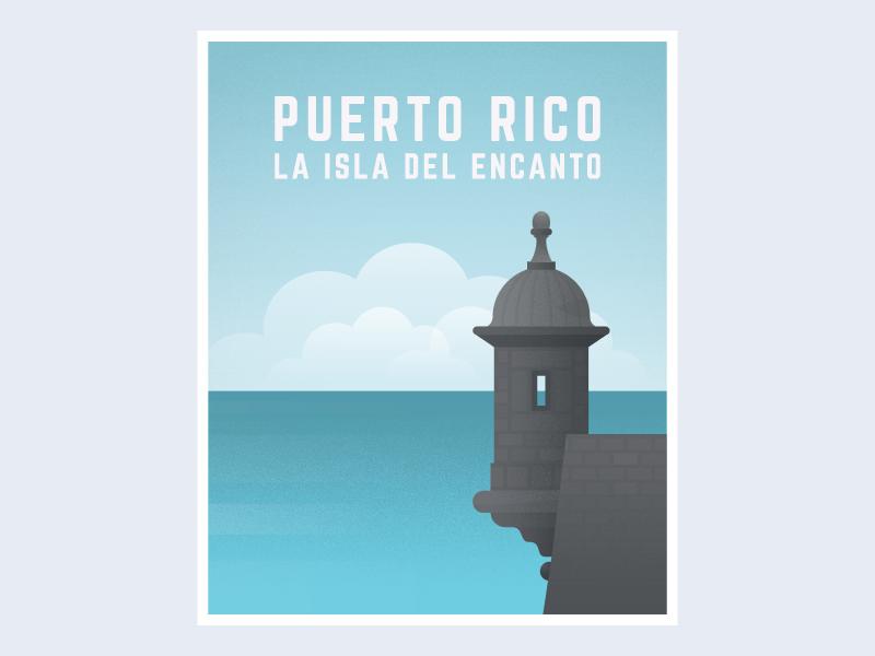 Puerto Rico clean caribbean black simple island castle blue ocean clouds illustration poster puertorico