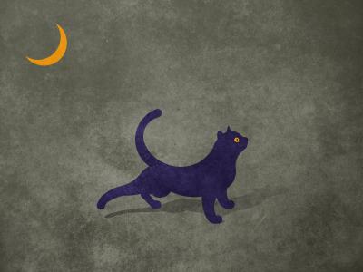 Cat night weird cat stretching moon purple yellow illustration eye
