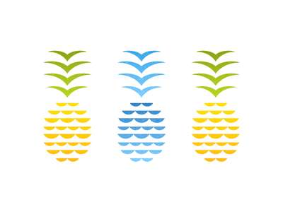 Pineapples = Waves + Seagulls tropical hawaii vector design seagull simple blue yellow illustration fruit ocean wave pineapple