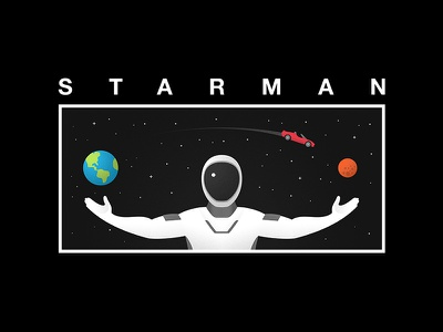 Starman simple car branding design logo vector black falcon heavy poster earth tesla space mars illustration elonmusk starman