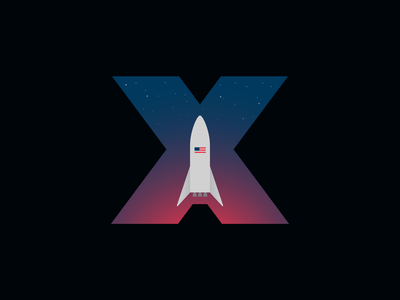 SpaceX 'Starship' Hopper Logo typography x blue red sky space american flag stars rocket sapcex simple vector branding icon illustration logo