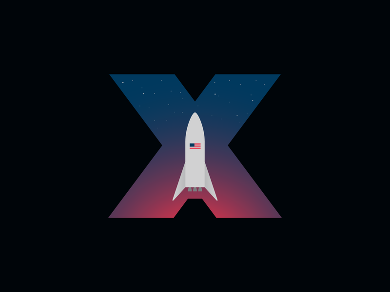 SpaceX 'Starship' Hopper Logo typography x blue red sky space american flag stars rocket sapcex simple vector branding icon illustration logo