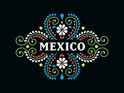 Mexican Folk Pattern leaf icon black ornaments typogaphy mexican branding simple vector illustration mexico logo design pattern ornament floral spanish folk
