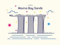 Marina Bay Sands - Line Art Illustration
