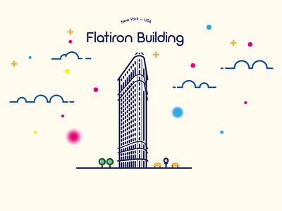 Flatiron Building icon vector lineart building icon building design illustrator illustration
