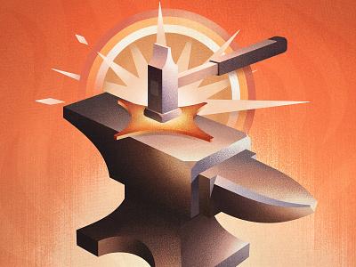 Paragon Forge Illustration retro vintage texture grain spark flash blacksmith hammer anvil fire flame illustration brand forge