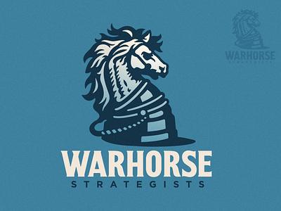 Warhorse Strategists Logo strategic warhorse horse brand illustration logo strategy chess