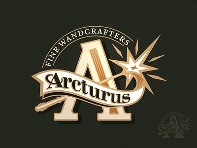 Arcturus Wandmakers Logo print vintage classic ribbon illustration branding brand logo magic wizard potter harry wand