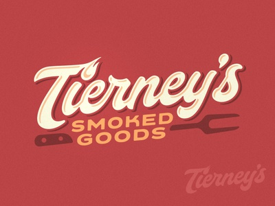 Tierney's Smoked Goods Logo restaurant food rubs rub sauce barbecue bbq fire hot flame branding brand custom script wordmark logo meats butcher meat smoked