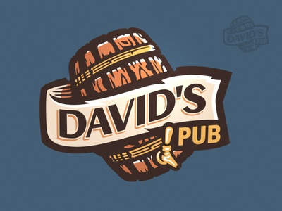 David's Pub Logo branding brand logo can food illustration scroll restaurant bar pub label barrel wine drink craft brewing brewery brew beer
