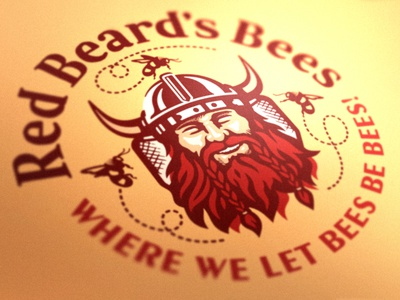 Red Beard's Bees Logo product logo packaging illustration brand branding yellow beard viking fresh farm food natural comb syrup organic butter sweet bees honey