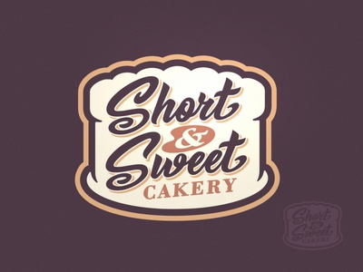 Short & Sweet Cakery Logo branding brand logo food sweets shop sweet muffin pastry goods baking cakes cakery bakery cake