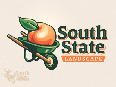South State Landscape Logo logo branding brand wheelbarrow southern south georgia landscape landscaping landscaper orange peach fruit lawn care tree garden nature plant green