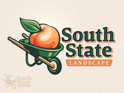 South State Landscape Logo logo branding brand wheelbarrow southern south georgia landscape landscaping landscaper orange peach fruit lawn care tree garden nature plant green