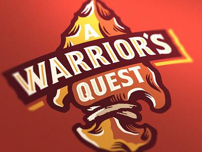 Warrior's Quest Logo trail running race hunting warrior american native head arrow illustration logo branding brand