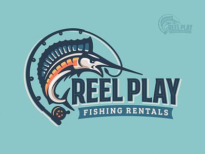 Reel Play Fishing Logo shark illustration branding brand logo rentals cast sporting sea boat pole rod reel sport ocean water fishing fish swordfish marlin
