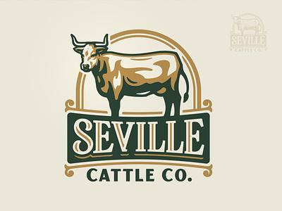 Seville Cattle Co. Logo illustration branding brand logo dairy milk farmer land food steak beef bull steer farming agriculture cattle cow farm