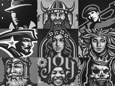 Faces of Paragon lubera jesse paragon people emotion serious smile laugh woman man person illustration logo branding brand faces face