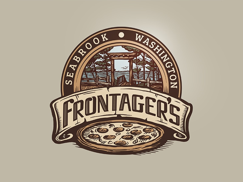 Frontagers Pizza Co. crest logo illustration craft pizza