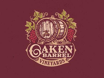 Oaken Barrel Vineyards cider beer leaf winery label vineyard oak barrel logo bottling grapes wine