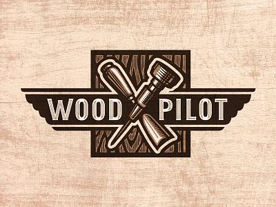 Wood Pilot Logo logo woodcut rough chisel wings pilot tools craft woodwork wood