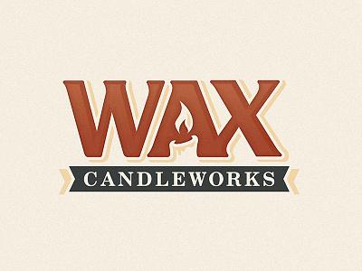 Wax Candleworks Logo brand logo warm negative light flame fire candle wax