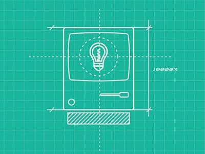 Blue Print Sketch diagram illustration lightbulb mac computer