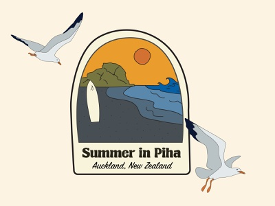 Summer in Piha branding design fun summer piha auckland newzealand badge