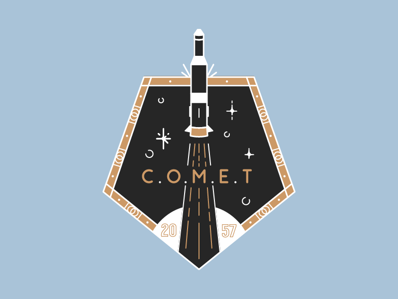 Daily Logo Challenge - 1/50 dailylogochallenge daily logo challenge comet badge icon daily rocket challenge space
