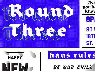 NYE Bash party beer poster adobe type warp illustration