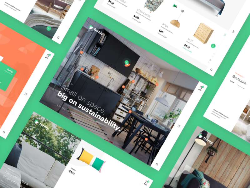 Furnly - Homepage design colored flat clean commerce store furniture website landing ux ui
