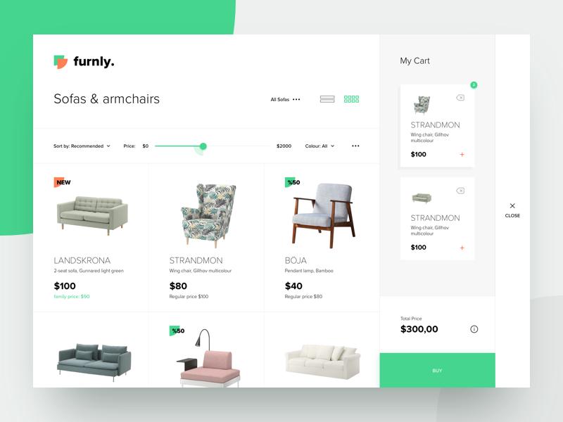 Furnly - Landing, My Cart store clean flat commerce cart colored website landing design ux ui
