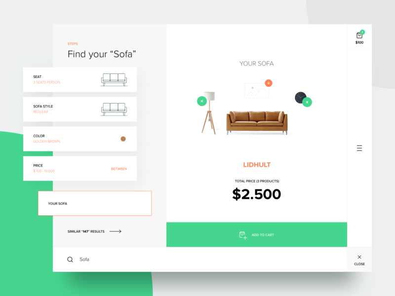 Furnly - Search Progress minimal furniture sofa selection find search concept flat website design ux ui