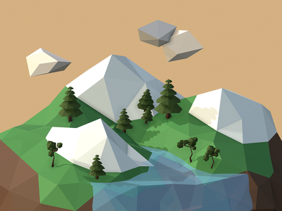 Low Poly Island lowpoly water tree nature scene render map low polygon game island low poly blender sketchfab adobe dimension 3d