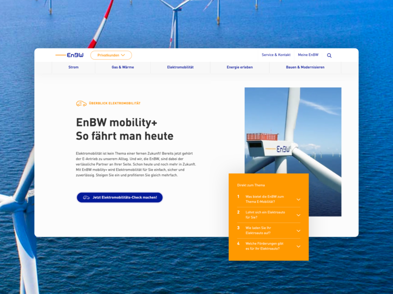 EnBW Relaunch light bright friendly round layered modern mobility electricity sea turbine wind renewable energy web asymmetric