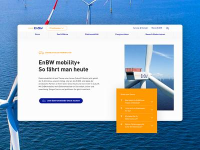 EnBW Relaunch light bright friendly round layered modern mobility electricity sea turbine wind renewable energy web asymmetric
