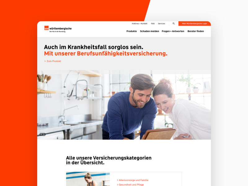 Wüstenrot and Württembergische Relaunch people health insurance minimal flat web