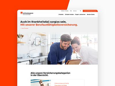 Wüstenrot and Württembergische Relaunch people health insurance minimal flat web
