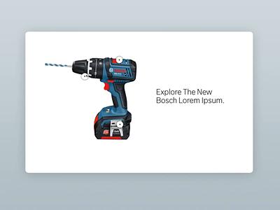 Bosch PowerTools Animations blueprint carousel hotspots power tool interactive component prototype video minimal animation web flat