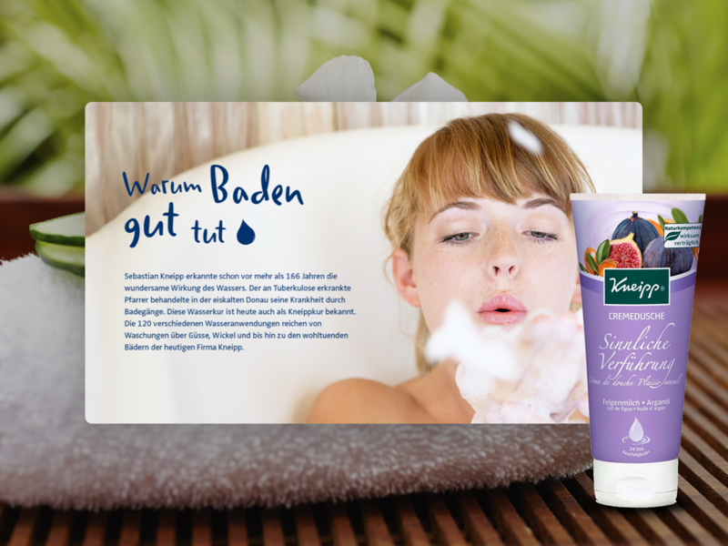 Kneipp Website handwritten photo friendly warm bath product care health landing page beauty web