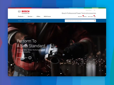 Landingpage for Bosch Power Tools clean blueprint slider accessory tool hotspots parallax power tool landing page video web flat