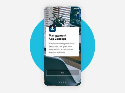 Management App Onboarding friendly animated cards slider carousel onboarding ios iphone app flat